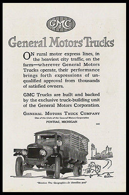 GMC Huge Canvas Slat Delivery Truck 1920 Stocklin Print Ad