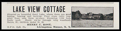 Livingston Manor 1915 Sullivan Co Lake View Cottage Sand Lake NY Hotel Photo AD - Paperink Graphics