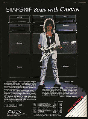 Craig Chaquico Starship 1987 Vintage Ad Carvin Guitars Amps Audio Equipment - Paperink Graphics