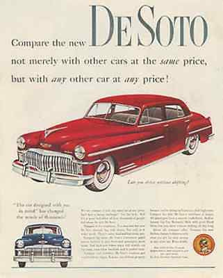1949 DeSoto Automobile Car Red Sedan Huge White Walls Print AD Sweet Classic - Paperink Graphics