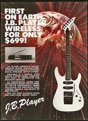 1988 Vintage Guitar Ad J.B. Player Wireless Professional Series Graphic Artwork