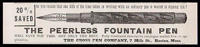 Fountain Pen 1889 Peerless Cross Pen No Ink Dipping AD