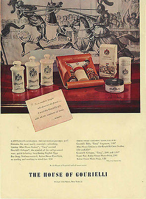 Gourielli Knights Horses House of Grooming 1946 Packaging Graphics Ad