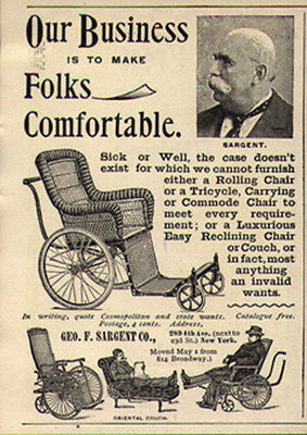 Wicker 1896 Rolling Chair Tricycle Couch Commode Ad George Sargent Photo