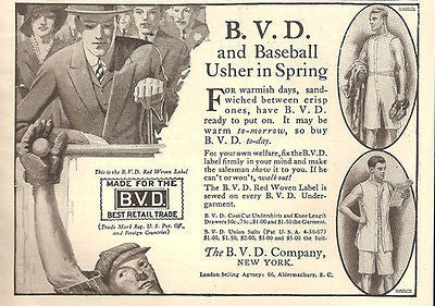 BVD Baseball Usher Spring Red Woven Label Knee Length 1914 AD - Paperink Graphics