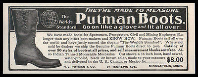 Boots 1908 Ad Putman Boots Water Proof Shoe Fashion - Paperink Graphics