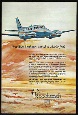 Beechcraft King Air Beethoven on Built In Fine Stereo Aviation 1967 Print Ad - Paperink Graphics