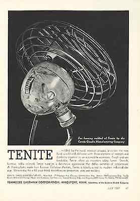 Deco Antique Automobile Fan Ad 1937 Tenite Plastic Industry Period Advertising