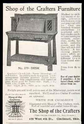 Desk Shop of the Crafters Furniture 1905 AD Quarter Church Oak Pewter Trimmings