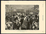 1895 An Irish Pig Fair on a Wet Day Art Print Charles J. Staniland Artist - Paperink Graphics