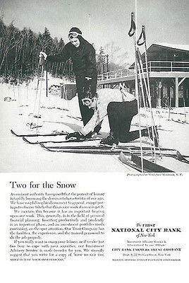 Skiing Lodge Whiteface Mountain NY National Bank 1959 Photo Illustrated Ad - Paperink Graphics