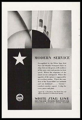 White Star Line Deco Ocean Liner Travel Promo Ad 1928 - Paperink Graphics