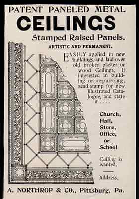 Ceilings Metal Stamped Artistic Panels Interior Decorating 1899 Small AD - Paperink Graphics