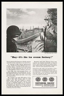 Ice Cream Factory Military Pacific Army 1945 Print Ad