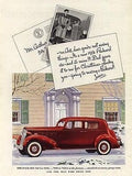 1936 PACKARD 120 Red White Walls Chrome Grill Auto AD - Paperink Graphics