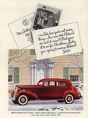 1936 PACKARD 120 Red White Walls Chrome Grill Auto AD