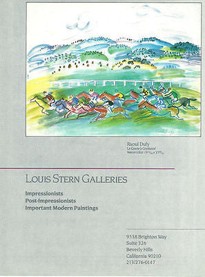 Raoul Dufy Horse Racing Artwork featured 1987 Louis Stern Galleries CA Artist AD
