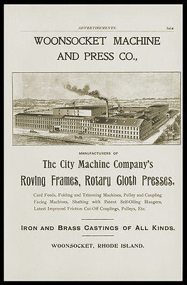 1898 AD Iron Brass Woonsocket RI Machine Press Industry Factory Manufacturing