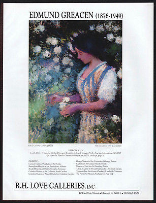 Ethol Giverny Garden Gallery Art AD 1994 Edmund Greacen Artist Art Advertisement