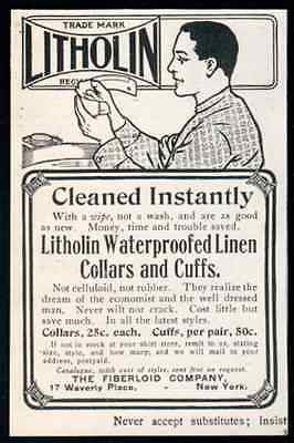 Mens Fashion 1907 Antique Clothing Litholin Collars Cuffs