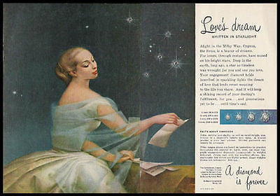 DeBeers Diamonds Love's Dream 1958 Leona Wood Print AD