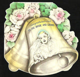 Bride Bells Roses Floral Die Cut Print Wedding Gown Greeting Card 1937 Hallmark - Paperink Graphics