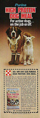 Saint Bernard Dog in Boots 1977 Purina AD Little White Dog in Sneakers Coupon
