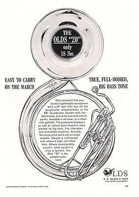 "Sousaphone Olds 20"" Bell Marching Band Lightweight 1962 Ad Musical Instruments"