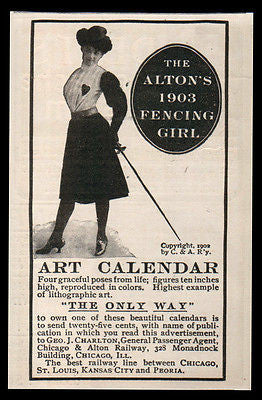 Alton's 1903 AD FENCING Girl Antique Advertisement - Paperink Graphics