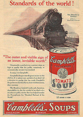 Campbells Tomato Soup World Standards Broadway Ltd Train NY Chicago RR 1926 AD - Paperink Graphics