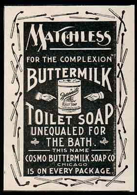 Burnt Matches Decorated Border Matchless Cosmo Buttermilk Toilet Soap 1896 AD