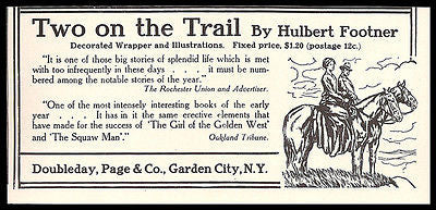 Western Horse 1911 AD Doubleday Publishing Two on the Trail Hulbert Footner