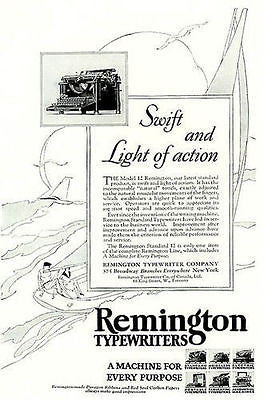 1926 Remington Typewriter Model 12 Swift and Light Sailboat Art AD - Paperink Graphics