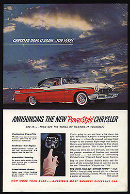 Chrysler 1956 Push Button Shift Panel 1955 AD Photo Inset - Paperink Graphics