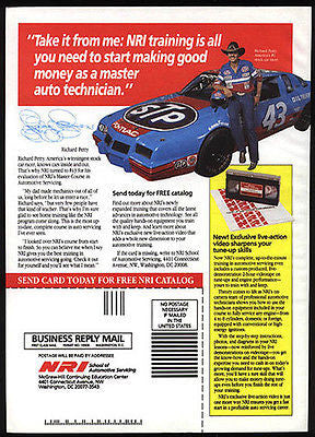 Richard Petty Pontiac Stock Car Race 1990 STP Oil Ad NRI School Automotive - Paperink Graphics