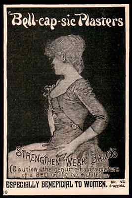 Bell-cap-sic Plasters Back Pain Woman Profile 1893 AD