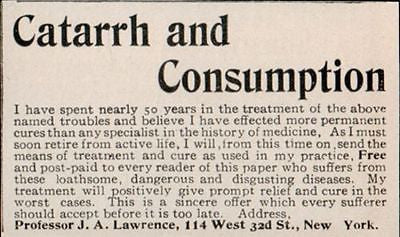 1902 Antique Quack Medicine AD Catarrh Consumption Permanent Cure Retiring NY Professor
