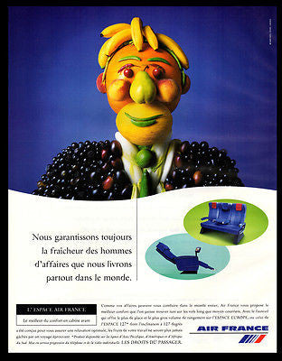 Air France 2000 French Text Fruit Man Aviation Advertising Art
