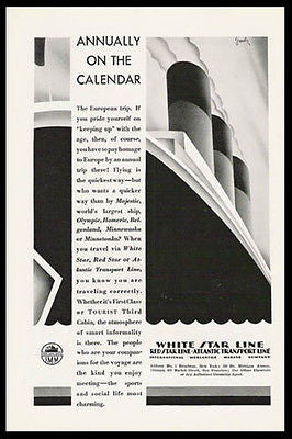 White Star Line Deco Geometric Ocean Liner 1929 Goesly Print Ad