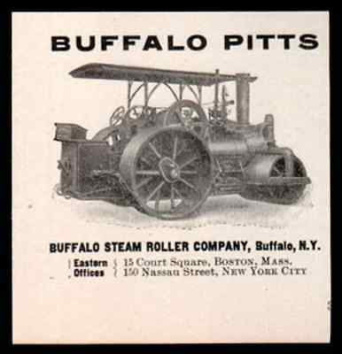 Buffalo Steam Roller Street Construction Small 1906 Equipment Steampunk AD - Paperink Graphics