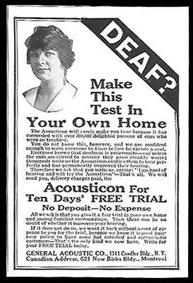 Deaf 1928 Ad Acousticon Hearing Aid Medical Device General Accoustic Co. NY