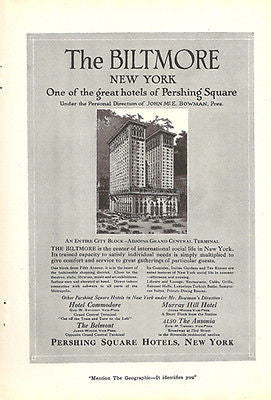 Biltmore Hotel Pershing Square NY 1920s Architecture Ad