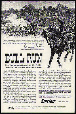 Bull Run Civil War Manassas VA Where the Rebel Yell Was Born 1961 Sinclair Ad - Paperink Graphics