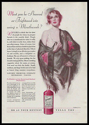 Lavoris Mouthwash Dental 1930 Print Ad Sexy Flapper Nightgown