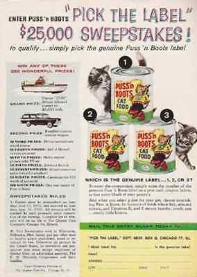Kittens Puss'n Boots Cat Food 1959 AD