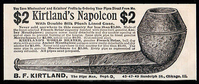 Pipe Man Kirtland Napoleon Antique Tobacco Pipe AD 1896 French Briar Small Ad - Paperink Graphics