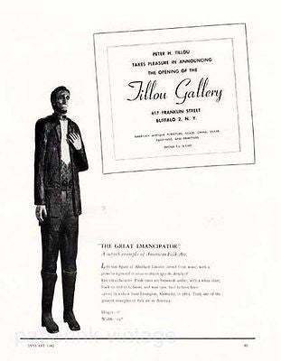 Abraham Lincoln Life Size Wood Carving 1962 Arts Gallery Buffalo NY Vintage Ad