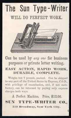 Bar Index Typewriter Sun Type-Writer Machine 1886 Small AD