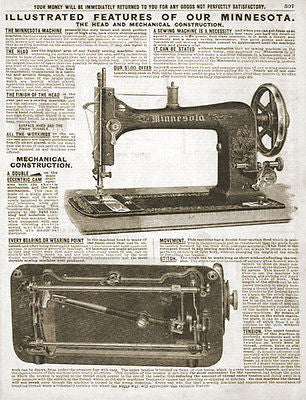 Minnesota Antique Sewing Machine 1914 Original Sears Catalog Ad