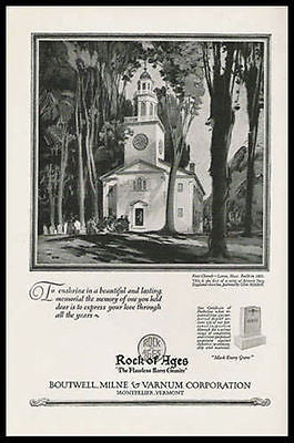 Historic First Church Lenox MA 1926 Glen Mitchell Art Print Ad - Paperink Graphics